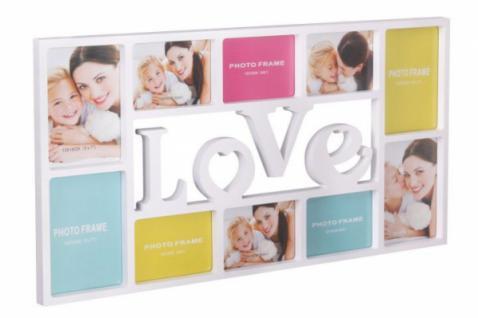 """WL BILDERRAHMEN """" Love"""" für 10 BILDER FOTORAHMEN BILDERGALERIE FOTOCOLLAGE weiss"""