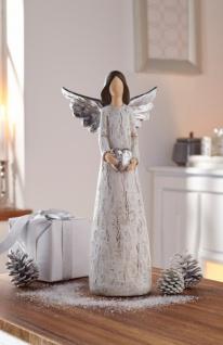 Engel 'Silberflügel? Holz Deko Statue Skulptur Weihnachten Weihnachtsdeko