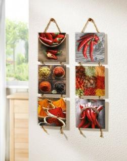 """2er Set Wandhänger """" Spicy"""" aus Holz, Küche Esszimmer Deko Wand Bild Schmuck"""