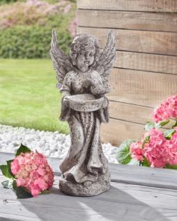 ENGEL 'Vogeltränke? aus POLYRESIN Antik-Look DEKO FIGUR SKULPTUR STATUE