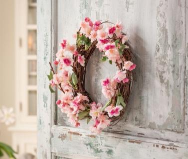 Kranz 'Kirschblüte? Ø 32 cm rosa Deko Wand Tür Hänger Verzierung Frühling