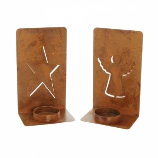 2er Teelicht Halter 'Engel & Stern? Metall Kerzen Ständer Windlicht Weihnachten - Vorschau 3