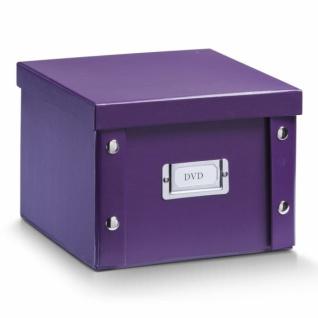 2x ZELLER DVD BOX mit DECKEL lila für 26 DVD's AUFBEWAHRUNG KISTE KARTON CASE