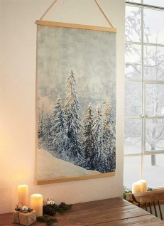"""Wand Bild """" Schneegestöber"""" 60 x 110 cm, mit Glitzer, Poster Deko Tafel Schmuck"""