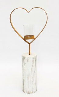 """Teelichtsäule ?Herz"""" Holz & Glas Teelicht Kerzen Halter Ständer Windlicht - Vorschau 2"""