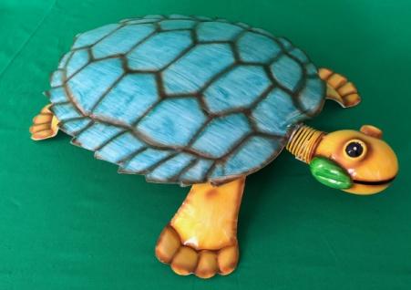 riesige Schildkröte aus Metall, bunt, türkis / orange Garten Deko Figur Skulptur