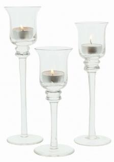 3 er Set Glas Kerzen Ständer Windlicht Kelch Leuchter Teelicht Halter - Vorschau 3