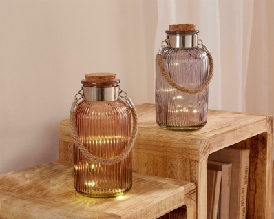 2 Glas Flaschen mit LED Lichterkette & Korken, Batterie, Deko Leuchte Glas Licht