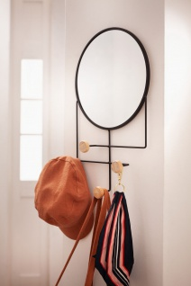 Metall & Holz Garderobe mit Spiegel, 4 Haken, modern, Flur Wand Kleider Halter - Vorschau 5