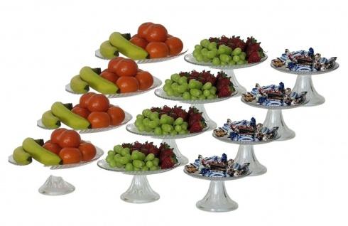 12 Glas Teller mit Fuß, 3-stöckige Etagere, Obst Gebäck Torten Servier Schale