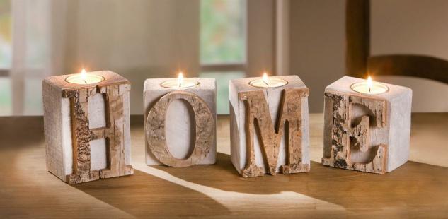 """4tlg. Teelicht Halter Set """" Home"""" aus Holz & Glas, Kerzen Ständer Windlicht"""
