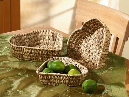 3 Set Schale in Herz Form aus Wasserhyazinthe, Obst Gebäck Servier Deko Korb