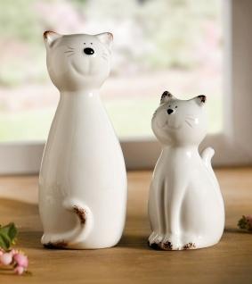 "2 Katzen "" Smile"" aus Porzellan, weiß, Tier Deko Figur Katze Statue Skulptur"