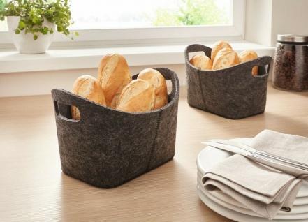 Universal Korb aus Filz, grau, mit Griffen, Brot Obst Füll Aufbewarungs Kiste