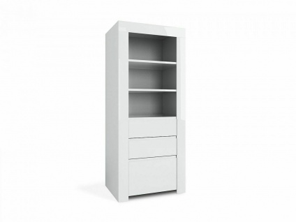 Design Schrank AMBER 21 weiß 1 Tür 2 Schubladen 3 offene Regal Fächer Kommode