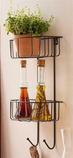 Metall Regal schwarz mit 2 Haken + 2 Körben Hänge Wand Stand Bad Küche Garten