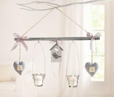 Deko Hänger grau aus Holz, 2 Glas Windlichter & 2 Herzen, Teelicht Kerzen Halter
