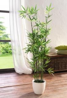 Deko Bambus im Topf, 115 cm hoch, Zier Pflanze Büro Blume Kunst Gras Kunststoff