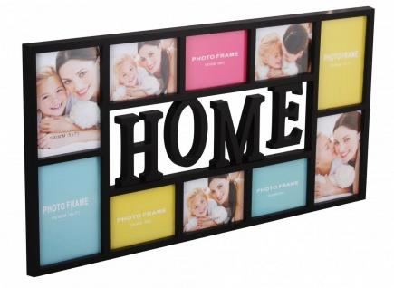 """WL Wohnling Bilder Rahmen """" Home"""" schwarz für 10 Fotos Wand Multi Galerie Collage"""