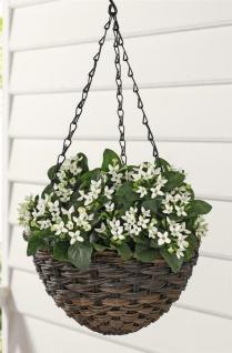 Pflanz Ampel aus Polyrattan braun Ø 25 cm Blumen Hänge Topf Korb Garten Balkon