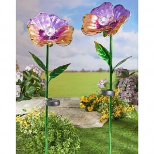"""Solar Garten Stecker """" Riesenblüte"""" aus Metall & Glas, Blumen Beet Sticker"""