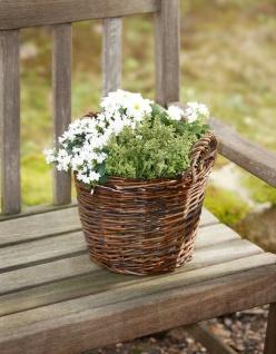 """Pflanz Korb """" Rustikal"""" aus Weide, braun, rund, Blumen Pflanzen Topf Kübel Garten"""