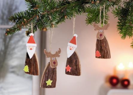 4er DEKO-HÄNGER ?Santa und Rudolf? HOLZ HÄNGER WEIHNACHTEN BAUMSCHMUCK NEU