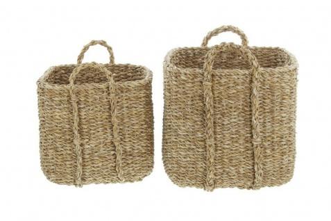 2 Universal Körbe aus Seegras Wäsche Korb Übertopf Aufbewahrungs Kiste Truhe Set - Vorschau 4
