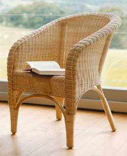 Rattan Sessel natur lackiert, hohe Rücken Lehne, Korb Club Lounge Cocktail Stuhl