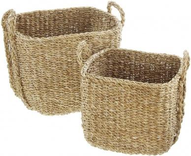 2x Aufbewahrungs Korb aus Seegras mit Griffen, Wäsche Spielzeug Kamin Holz Körbe - Vorschau 2