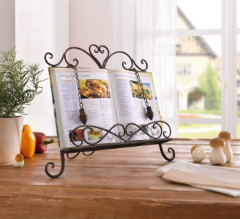 "Kochbuch Ständer "" Haute Cuisine"" aus Metall Rost Design Antik Buch Halter Stütze"