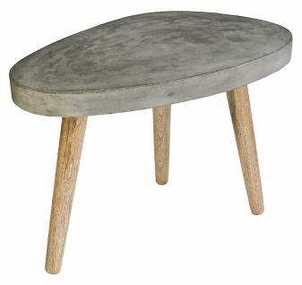 Sit Möbel Couch Tisch in Ei-Form 75x52 cm, mit Beton Platte grau, Sofa Zement