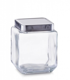 Zeller Vorratsglas 1100 ml, eckig, mit Alu Deckel, silber, Vorrats Dose Behälter