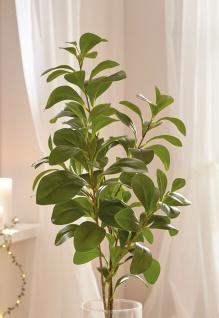 Deko Zweig mit grünen Blättern, 70 cm lang, Kunst Textil Pflanze Ast Frühling