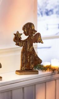 """Holz Figur """" Engel mit Stern"""" aus Rinde verziert mit Gold Weihnachts Advents Deko"""