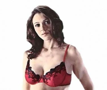 BH Bügel BH rot, mit Spitze, schwarz, Gr. 80 C Damen Unterwäsche