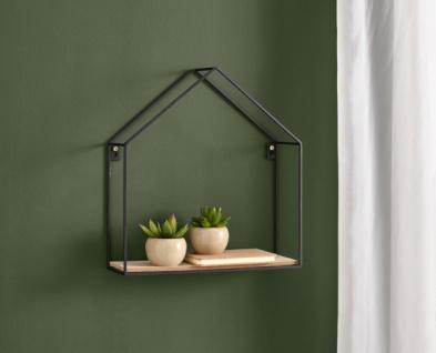 Wand Regal 'Haus? aus Metall & Holz schwarz Hänge Board Deko Hänger klappbar