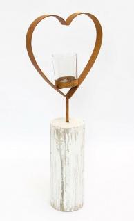 """Teelichtsäule ?Herz"""" Holz & Glas Teelicht Kerzen Halter Ständer Windlicht - Vorschau 3"""