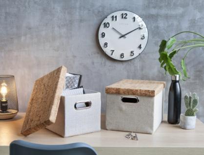 2er Aufbewahrungsbox 'Kork? mit Deckel Regal Schrank Deko Korb Füllkorb