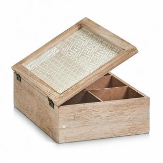"""Zeller Holz Aufbewahrungs Kiste """" Nordic"""" mit Deckel, 6 Fächer, Ordnungs Näh Box"""
