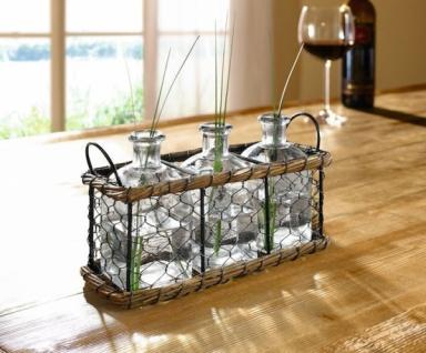 4tlg Metallkorb Mit Dekoflaschen Glasflasche Glasvase Tischdeko Dekovase Vase - Vorschau