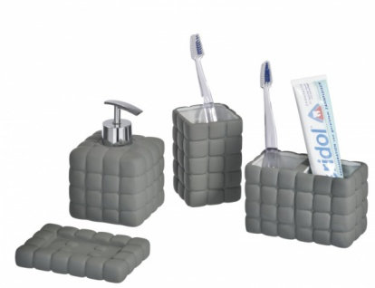 4tlg WENKO BAD SET Cube Dark Grey KERAMIK SOFT TOUCH WC GARNITUR SEIFENSPENDER