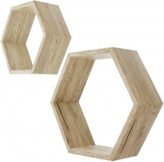 """2x Waben Regal """" Eiche"""", MDF in Holz Optik, Hexagon Sechseck Würfel Wand Cube"""