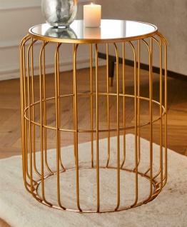 Beistelltisch Ø 49 cm Glasscheibe auf Metall Gestell bronze Telefon Tisch Hocker