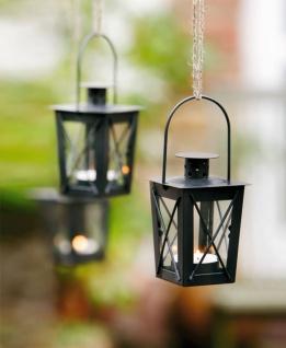 2er Set Mini Laternen aus Metall + Glas, schwarz, Teelicht Halter Windlicht