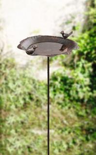 """Vogel Tränke """" Piepmatz"""" aus Metall, Rost Optik, Garten Stecker Sticker Becken"""