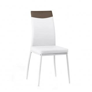 CRIBEL Design Stuhl JET, PU Leder weiß / cappucino, Küchen Esszimmer Polster