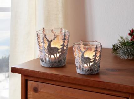 Windlicht Set aus Glas + Filz, Kerzen Teelicht Halter Ständer Winter Weihnachten