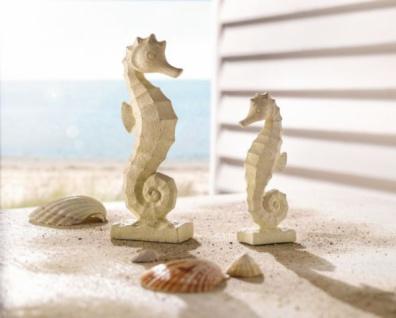 2er DEKO-FIGUR 'Seepferdchen' aus POLYSTEIN creme NAUTIK-FLAIR TIERFIGUR NEU