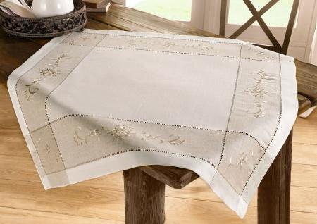 Tisch Decke im Landhaus Stil, creme, 85x85, Leinen Mischung, Tuch Wäsche Mittel
